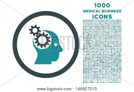 Intellect Gears rounded glyph bicolor icon with 1000 medical business icons. Set style is flat pictograms, soft blue colors, white background.