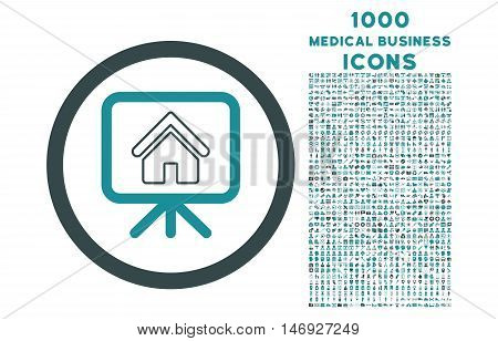 Project Slideshow rounded glyph bicolor icon with 1000 medical business icons. Set style is flat pictograms, soft blue colors, white background.
