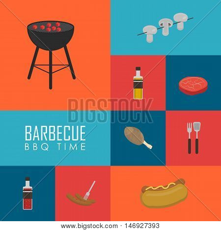 BBQ time vector illustration. Barbecue grill icons set, Charcoal kettle grill, hot dog, sausages, sauce, ketchup, mushrooms, steak and grill tools on color background. Design elements for grill menu