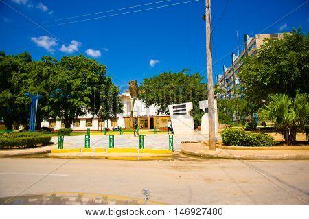 CIEGO DE AVILA, CUBA - SEPTEMBER 5, 2015: Downtown of Ciego de Avila. Located in the central part of Cuba is the capital of Ciego de Avila Province. The city has a population of about 86, 100.