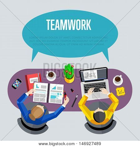 Teamwork concept with space for text. Top view workspace background, vector illustration. Overhead view of business people working at office desk. Business workplace. Collaboration and partnership