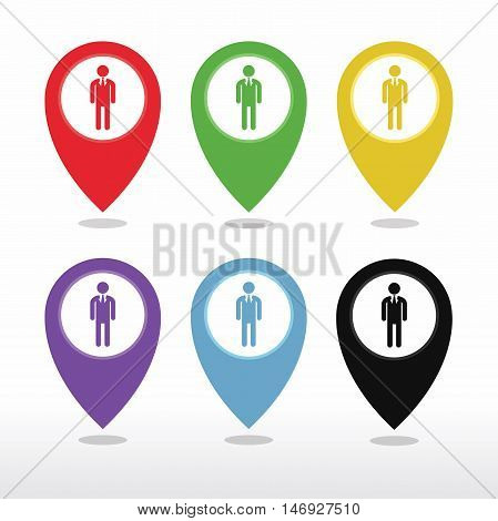Map pointer user sign icon. Person location marker symbol. Colored flat icons on white background vector