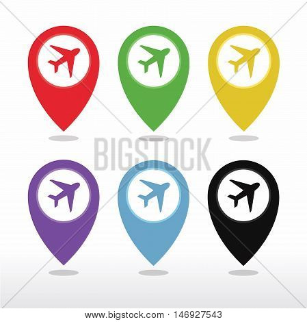 Aeroplane, Airplane, Airport, Landing Field, or Logistic Map Pointer Icon vector