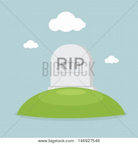 Grave flat design with the sky vector illustration