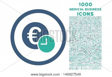 Euro Credit rounded glyph bicolor icon with 1000 medical business icons. Set style is flat pictograms, cobalt and cyan colors, white background.
