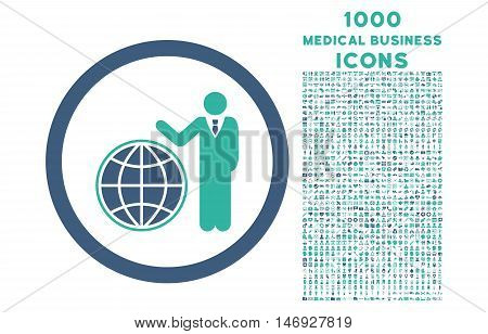 Global Manager rounded glyph bicolor icon with 1000 medical business icons. Set style is flat pictograms, cobalt and cyan colors, white background.