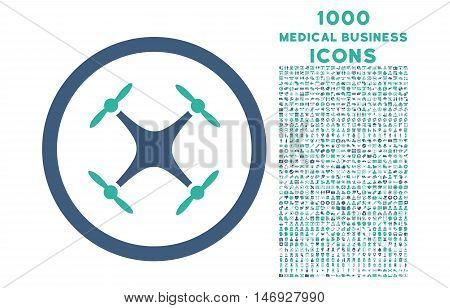 Quadcopter rounded glyph bicolor icon with 1000 medical business icons. Set style is flat pictograms, cobalt and cyan colors, white background.