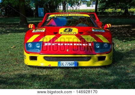 Mogliano VenetoItaly Sept 112016:Photo of a Ferrari F40 racecar at meeting Top Selection 2016. The Ferrari F40 is a mid-engine rear-wheel drive two-door coupé sports car built from 1987 to 1992.