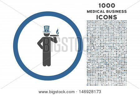 American Capitalist rounded glyph bicolor icon with 1000 medical business icons. Set style is flat pictograms, cobalt and gray colors, white background.