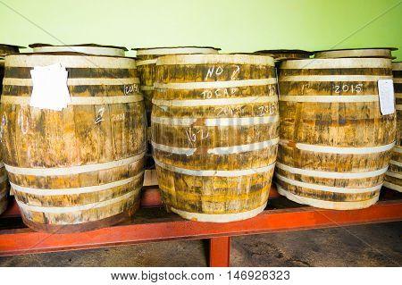 PINAR DEL RIO, CUBA - SEPTEMBER 13, 2015: Guayabita rum and alcoholic beverages factory in the city centre