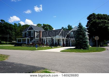 HARBOR SPRINGS, MICHIGAN / UNITED STATES - AUGUST 1, 2016: A new home, designed and built by Bob Michels, in Harbor Springs.