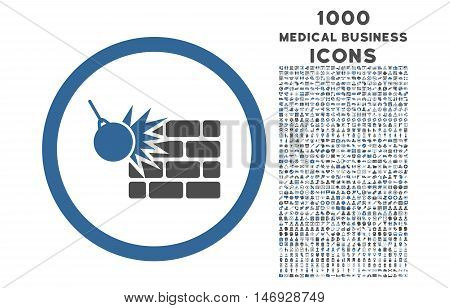Wall Destruction rounded glyph bicolor icon with 1000 medical business icons. Set style is flat pictograms, cobalt and gray colors, white background.