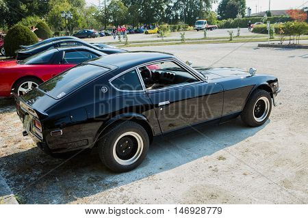 Mogliano VenetoItaly Sept 112016:Photo of a Datsun 240z at meeting Top Selection 2016. The Datsun was the first generation of Z GT two-seat coupe produced by Nissan Motors Japan from 1969 to 1978.