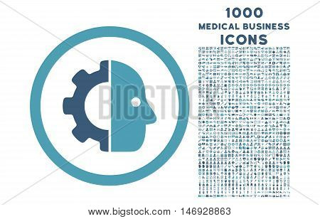 Cyborg rounded glyph bicolor icon with 1000 medical business icons. Set style is flat pictograms, cyan and blue colors, white background.
