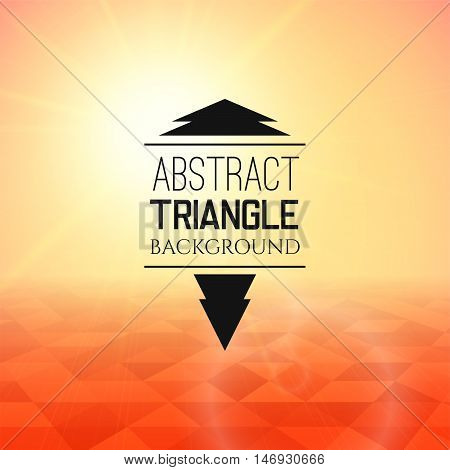 Abstract yellow sunset with red triangle field, perspetive pattern in sunny fog, geometrical vibrant multicolored vector background illustration