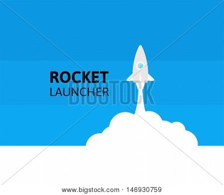 Blue rocket and white cloud, icon in flat style, conceptual of start up new business project, take off of a business or project or extraterrestrial travel vector illustration
