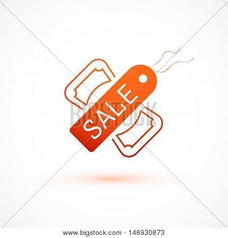 Sale symbol, tag and dollar icon, vector illustration