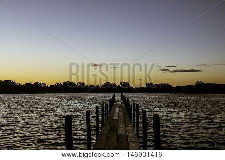 Sunset at Lake Okoboji, Iowa in the Summer.