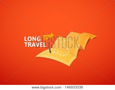 World tour concept logo, long route in travel map with guide marker, vector illustration