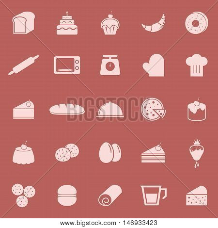 Bakery color icons on red background, stock vector