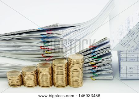 Step Pile Of Gold Coins And House With Pile Document