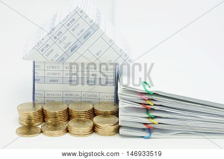 Step Pile Of Gold Coins And House