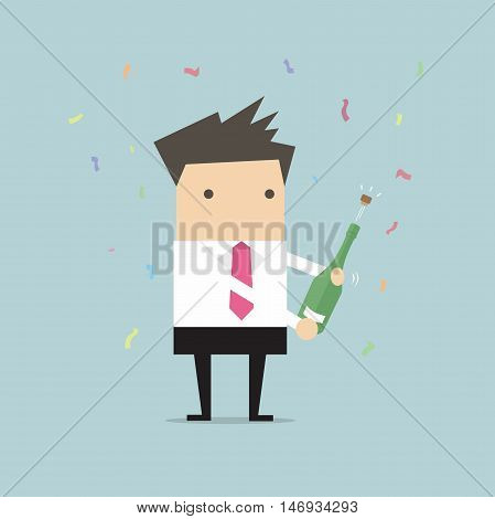 Businessman uncorking a bottle of champagne vector