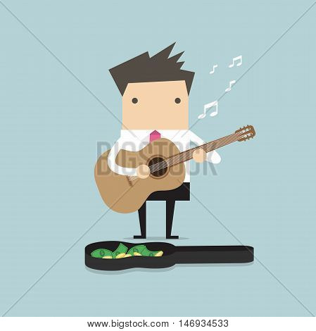 Businessman playing guitar for money vector illustration