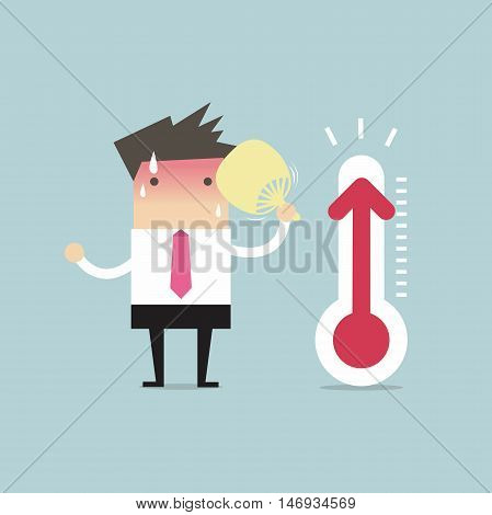 Businessman very hot because increased temperature vector