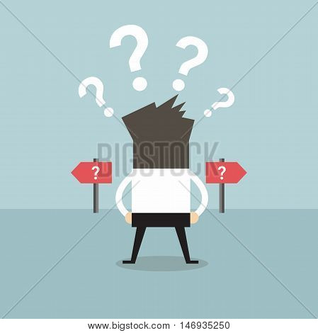 Businessman confused. Standing at the crossroad vector