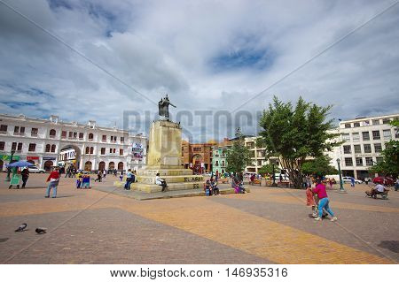 PASTO, COLOMBIA - JULY 3, 2016: statue of antonio narino, political and military leader of the independence movement in colombia.