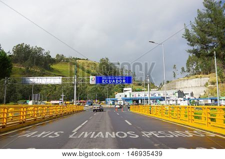 IPIALES, COLOMBIA - JULY 4, 2016: checkpoint in the borderline between colombia and ecuador.