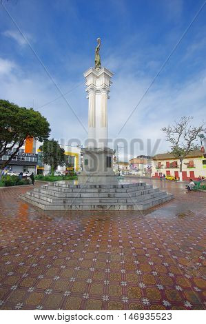 TULCAN, ECUADOR - JULY 3, 2016: independence monument located in the central park of the city.