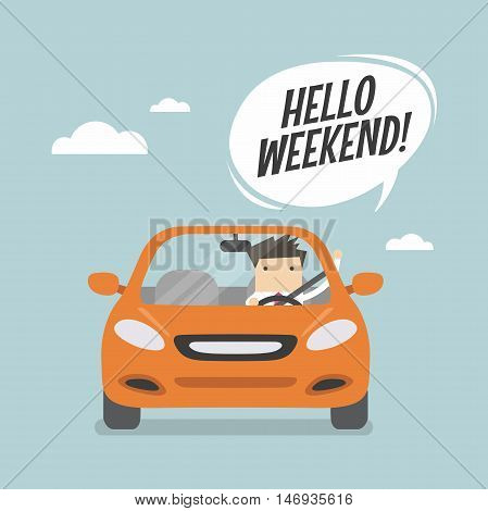 Businessman traveling by car and say Hello weekend.
