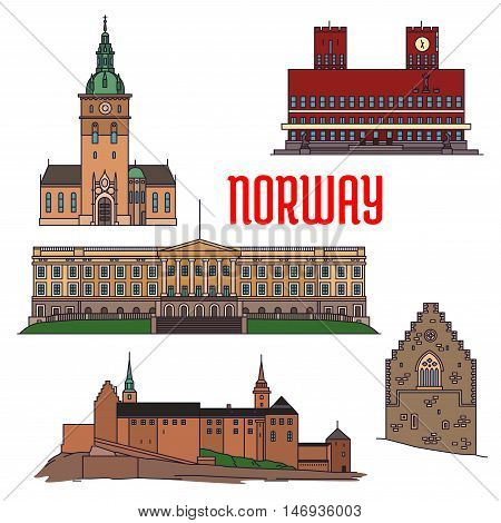 Historic sightseeings and buildings of Norway. Vector detailed icons of Royal Palace, Akershus Fortress, Hakons Hall, Oslo Cathedral, Radhus. Norwegian showplace symbols for print, souvenirs, postcards