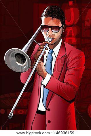 Jazz trombone player - vector illustration