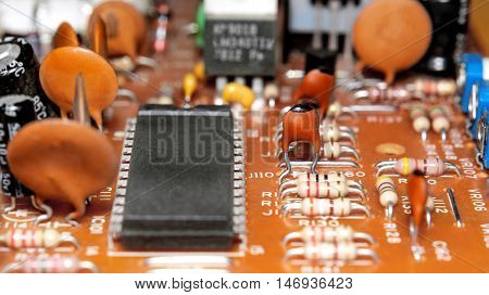 Electronic circuit board of the device close up