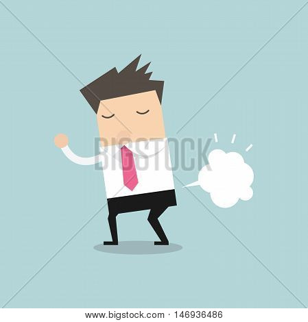Businessman farting with blank balloon out from his bottom vector