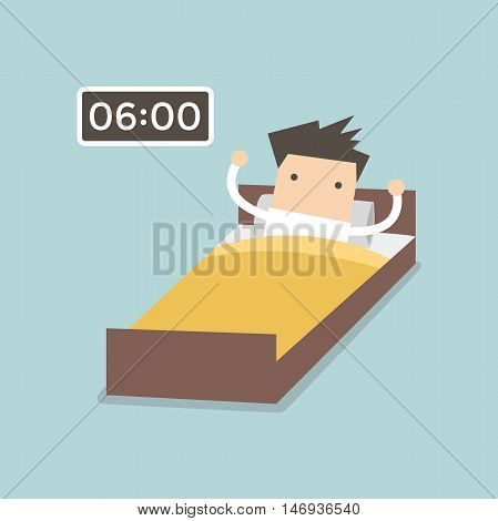 Businessman wake up early in the morning. vector