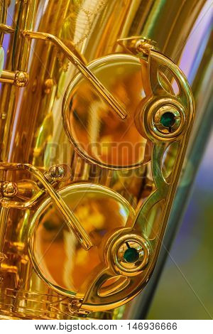 Close up of a Golden Plated Alto Saxophone