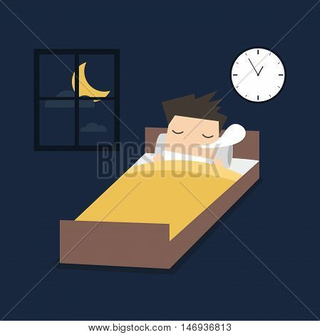 Man is sleeping on the bed. vector
