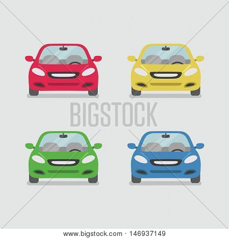 Car front view isolated on background vector illustration