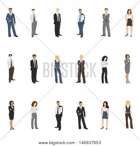 Collection vector illustrations of business men and women in different poses