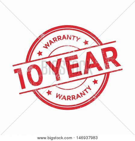 10 year warranty icon isolated on white background