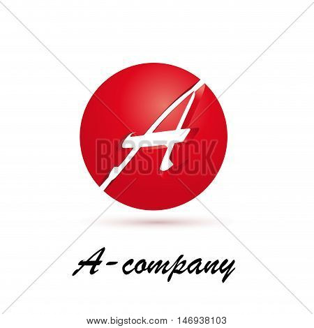 Vector sign spherical initial red letter A