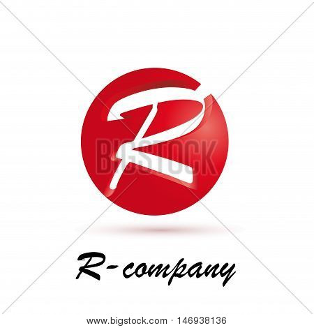 Vector sign spherical initial red letter R