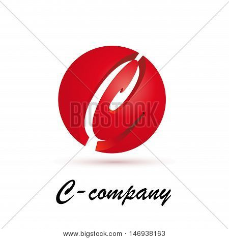 Vector sign spherical initial red letter C