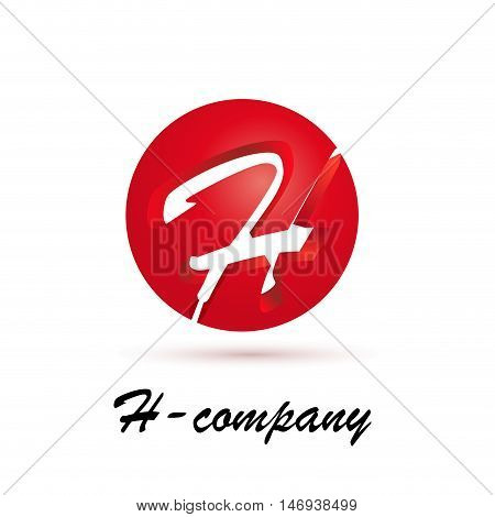 Vector sign spherical initial red letter H