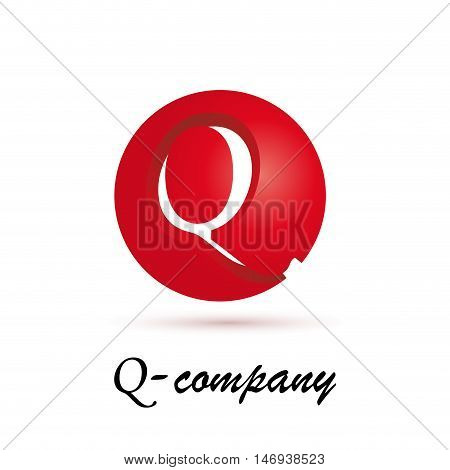 Vector sign spherical initial red letter Q