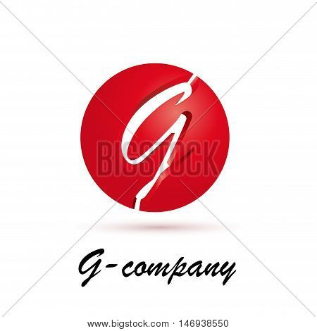Vector sign spherical initial red letter G